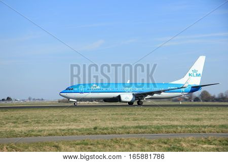 March 22nd 2015 Amsterdam Schiphol Airport PH-BXH KLM Royal Dutch Airlines Boeing 737-800 take off from Polderbaan Runway