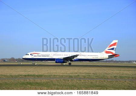 March 22nd 2015 Amsterdam Schiphol Airport G-EUXD British Airways Airbus A321-231 take off from Polderbaan Runway