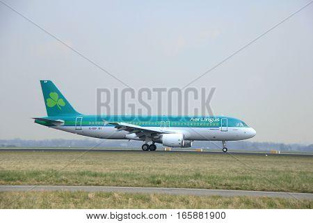 March 24th 2015 Amsterdam Schiphol Airport EI-DEP Aer Lingus Airbus A320-200 landing on Polderbaan Runway