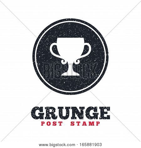 Grunge post stamp. Circle banner or label. Winner cup sign icon. Awarding of winners symbol. Trophy. Dirty textured web button. Vector