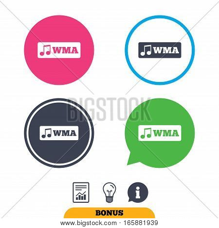 Wma music format sign icon. Musical symbol. Report document, information sign and light bulb icons. Vector