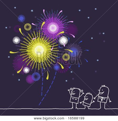 people & fireworks