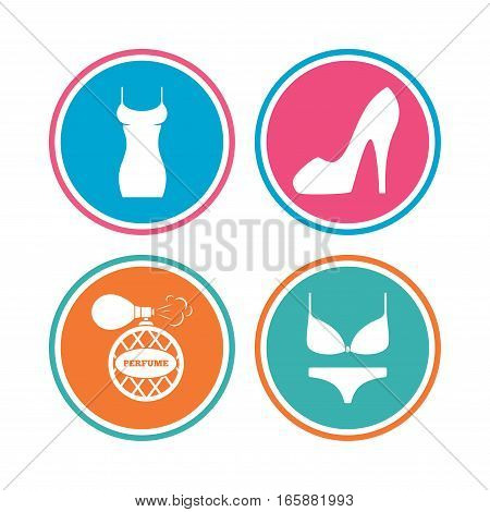 Women dress icon. Sexy shoe sign. Perfume glamour fragrance symbol. Intimates underwear. Colored circle buttons. Vector