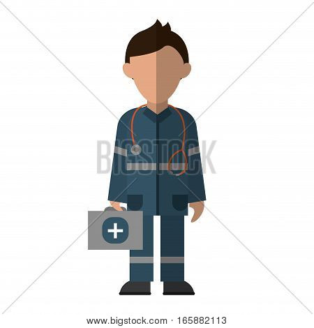 paramedic character uniform stethoscope kit first aid emergency vector illustration eps 10