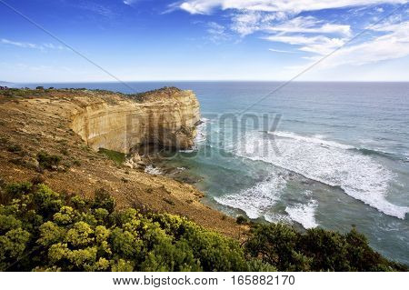 The Great Ocean Road is a popular tourist attraction close to Melbourne, Victoria, Australia. The limestone cliff face pictured here is near Port Campbell, Victoria.