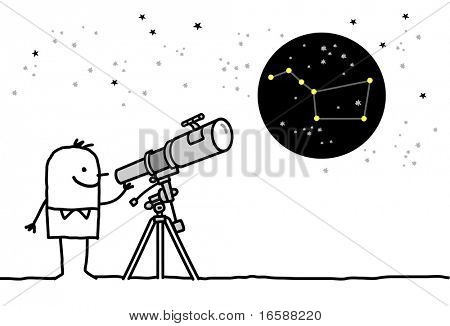 man with telescope & constellation