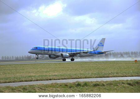 March 27th 2015 Amsterdam Schiphol Airport PH-EZR KLM Cityhopper Embraer ERJ-190 Polderbaan Runway