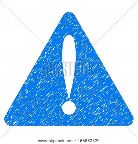 Warning Error grainy textured icon for overlay watermark stamps. Flat symbol with scratched texture. Dotted vector blue ink rubber seal stamp with grunge design on a white background.