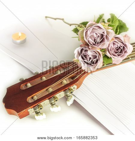 A square photo of a guitar neck with tender pink roses and blurred sheet music, on a white background with copyspace