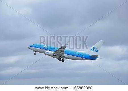 March 27th 2015 Amsterdam Schiphol Airport PH-BGQ KLM Royal Dutch Airlines Boeing 737-700 Polderbaan Runway