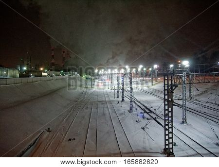 Moscow Ring Railway at night in winter