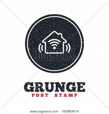 Grunge post stamp. Circle banner or label. Smart home sign icon. Smart house button. Remote control. Dirty textured web button. Vector