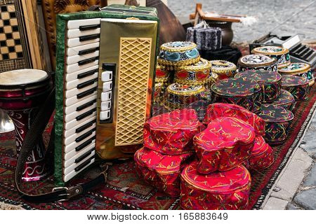 Souvenir shop in eastern city. Sale of commemorative gifts