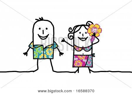 couple with sarong & Hawaiian shirt