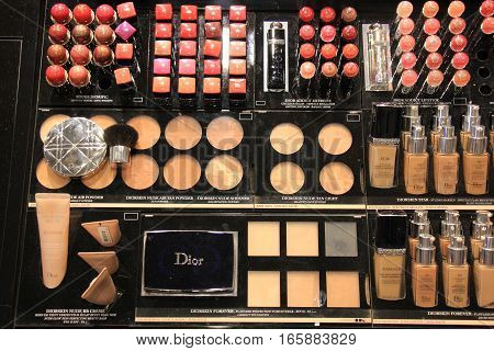 Amsterdam, the Netherlands, august 5, 2015: Luxurious cosmetics displayed in a shop