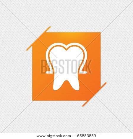 Tooth enamel protection sign icon. Dental toothpaste care symbol. Healthy teeth. Orange square label on pattern. Vector