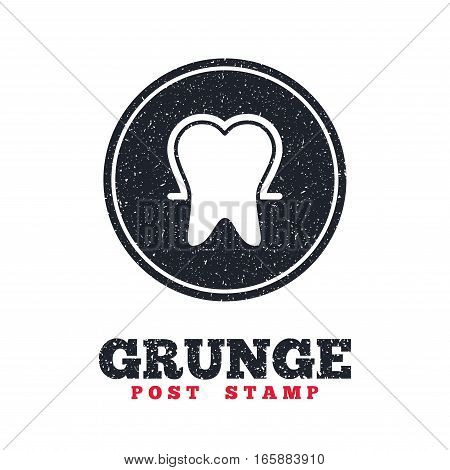Grunge post stamp. Circle banner or label. Tooth enamel protection sign icon. Dental toothpaste care symbol. Healthy teeth. Dirty textured web button. Vector