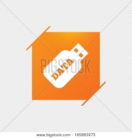 Usb Stick sign icon. Usb flash drive button. Orange square label on pattern. Vector