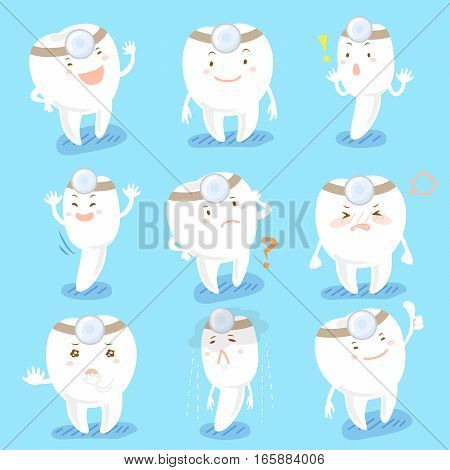 cartoon tooth doctor wearing mirror on head and do expression