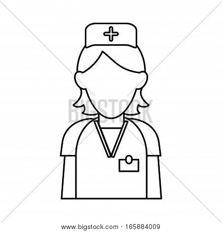 nurse staff care clinic uniform hat cross outline vector illustration