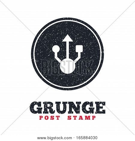 Grunge post stamp. Circle banner or label. Usb sign icon. Usb flash drive symbol. Dirty textured web button. Vector
