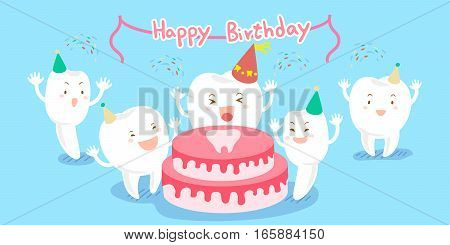cute cartoon tooth feel happily with happy birthday