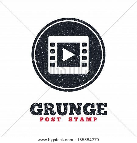 Grunge post stamp. Circle banner or label. Video sign icon. Video frame symbol. Dirty textured web button. Vector