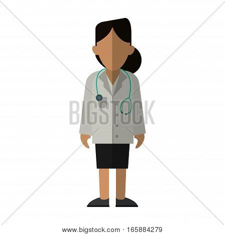 woman doctor therapist stethoscope diagnosis vector illustration eps 10