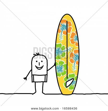 man with patterned surfboard