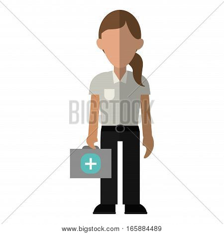 woman paramedic worker hospital emergency vector illustration eps 10