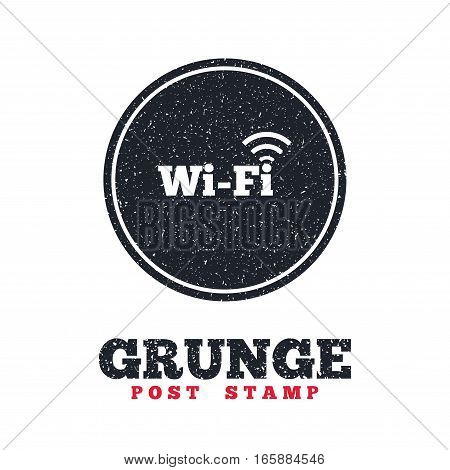Grunge post stamp. Circle banner or label. Free wifi sign. Wifi symbol. Wireless Network icon. Wifi zone. Dirty textured web button. Vector