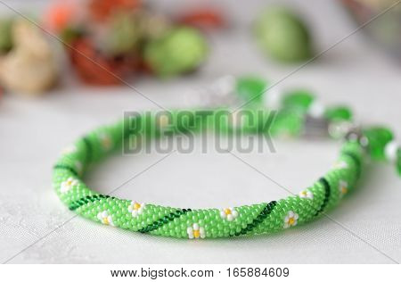 Beaded Crochet Choker Necklace With Flower Print Close Up