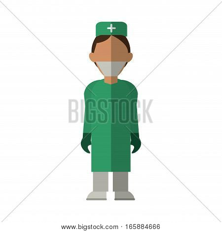 surgeon doctor wearing clothes medical uniform vector illustration eps 10