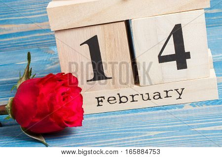 Cube Calendar With Rose Flower, Valentines Day