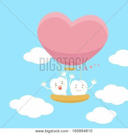 cute cartoon teeth with heart hot air balloon