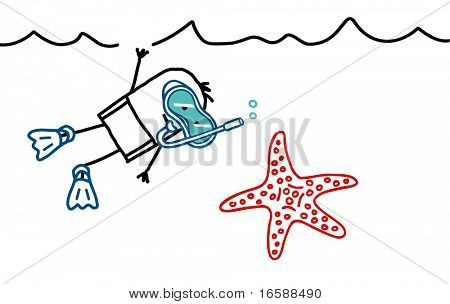 man with scuba mask & starfish