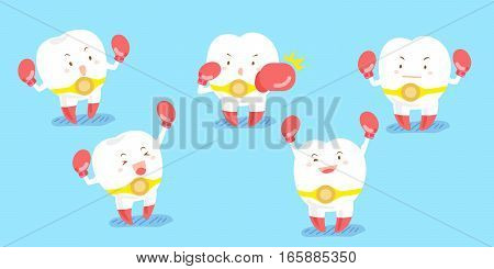 cute cartoon tooth wear boxing glove and smile happily