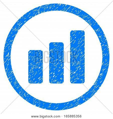 Rounded Bar Chart Increase rubber seal stamp watermark. Icon symbol inside circle with grunge design and dirty texture. Unclean vector blue emblem.