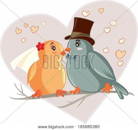 Love Birds Cartoon Vector Illustration Wedding Card Invitation