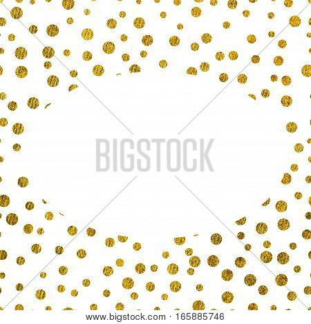 Frame golden texture with copy space. The theme of glamour, Valentines Day or holiday Greetings Gold glitter on a white background
