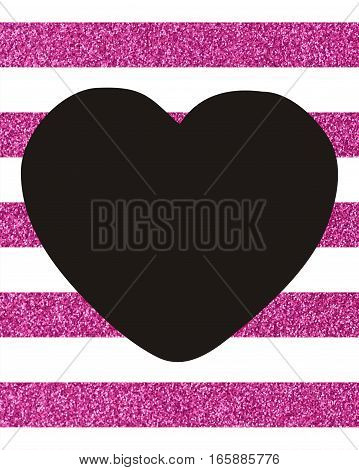 Background of horizontal pink glittery stripes with a big black heart in the middle with copy space The Theme of love and Valentines Day Idea for greeting card Rectangular orientation Texture glitter