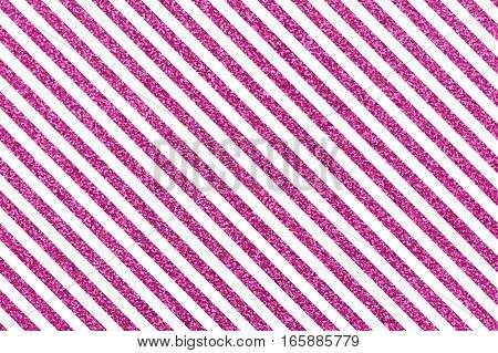 A pattern of slanted pink lines on a white background Slanted glittery lines The Theme of love and Valentines Day Idea for greeting card Rectangular orientation. Diagonal stripes of glitter