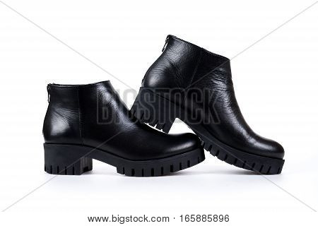Elegant Black Ladies' Boots On A White Background