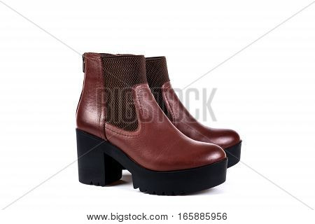 Ladies Brown Boots On A White Background