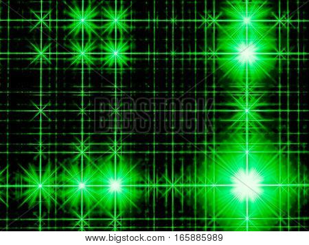 Dark technology background - abstract computer-generated image. Fractal art: green rectangular grid with bright stars and rays. For covers, posters, web design.