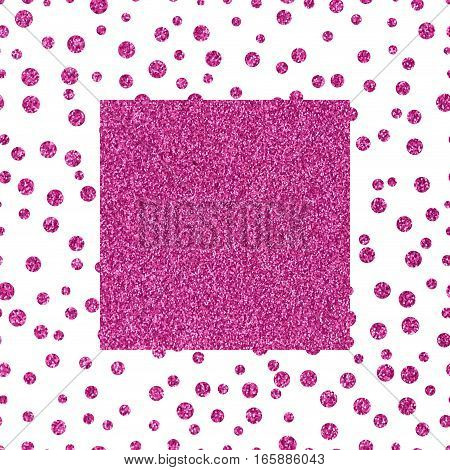 Pattern of small pink dots scattered on a white background Frame pink glittery texture with copy space. The theme of glamour, Valentines Day or holiday Greetings Pink glitter on a white background
