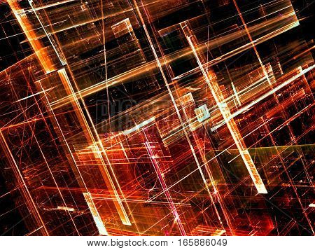 Modern technology background - abstract computer-generated image. Fractal geometry: chaos glass walls. Hi-tech, virtual reality or sci-fi concept.