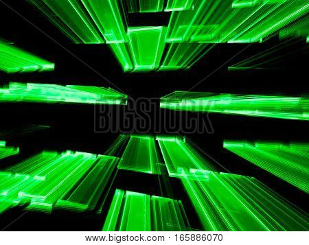 Flying to the horizontal green rectangles - chaos fractal background. Abstract computer-generated blurred image in technology style. For web design, covers, posters.