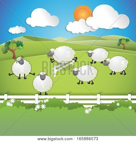 counting sheep to fall asleep sheep from paper cuts are playing and jumping on the field vector illustration