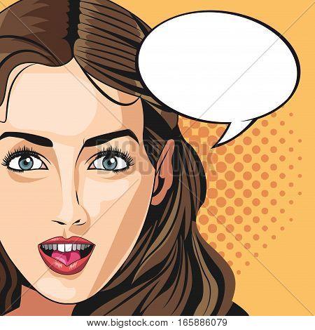 pop art woman vogue style bubble speech dotted background vector illustration eps 10